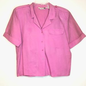 Vintage SK & Company Cropped ButtonUp Short Sleeve